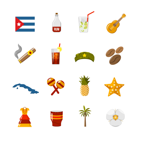 havana cigar: Flat color cuba icons with  state sovereignty elements national and cultural traditions and climate symbols isolated vector illustration