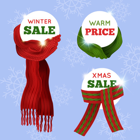 knit: Advertising sale card of different knitted scarfs on light blue seamless background with snowflakes vector illustration