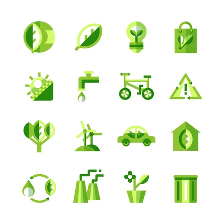 business icon: Green ecology icons set of ecologically clean products and safe production on white background isolated vector illustration