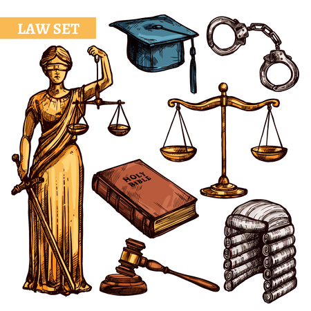 criminal law: Decorative law elements set with figure Themis Holy Bible scales handcuffs hammer and  judges accessories  isolated vector illustration
