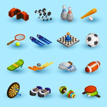 sport equipment: Sport equipment isometric icons set with boxer gloves football ball baseball bat isolated vector illustration