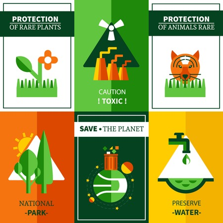 national parks: Six flat ecology posters set on theme  protection rare plants animals and national parks vector illustration Illustration