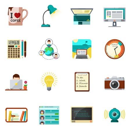 business icon: Freelnce job and work from home icons flat set isolated vector illustration Illustration