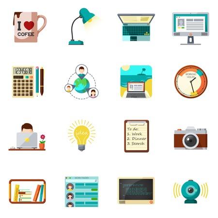 negocios internacionales: Freelnce trabajo y el trabajo de iconos de casas aisladas Conjunto de la ilustración del vector plana