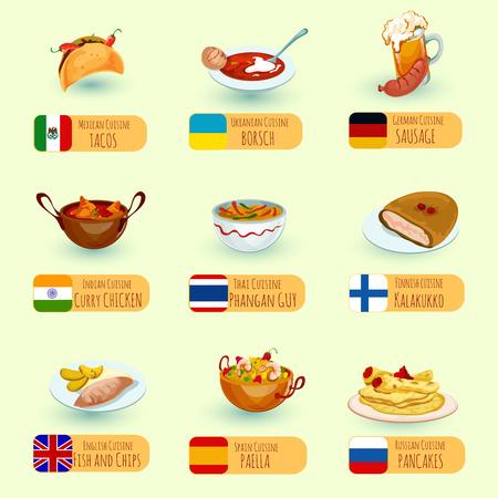 fish and chips: mundial de alimentos platos de cocina internacional iconos Conjunto decorativo con pescado y patatas fritas salchichas de pollo al curry ilustración vectorial aislado