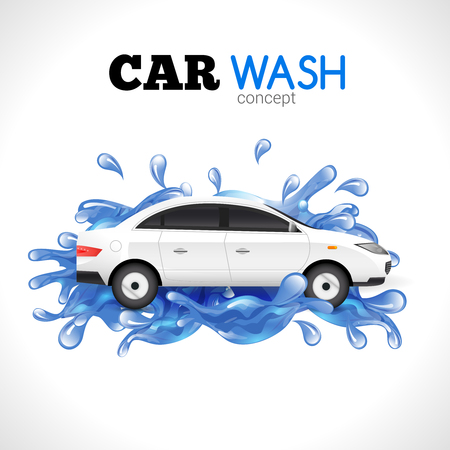 White car wash concept with blue water splashes vector illustration