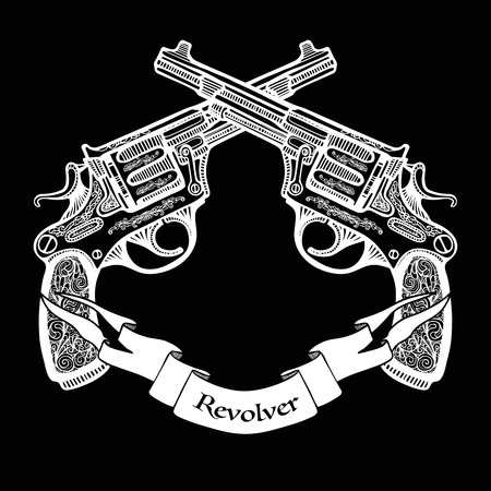 gunshot: Hand drawn white  crossed pistols in vintage style with ribbon on black background   vector illustration