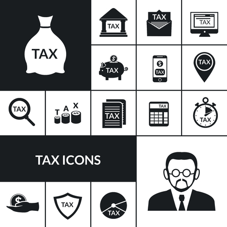 official: Income and estate taxes black icons composition poster with government official and money saving symbols abstract vector illustration