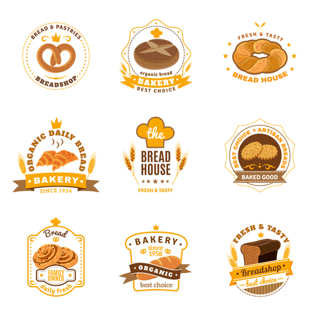 sandwich: Family business traditional bakery emblems collection for daily fresh bread cookies and pastry abstract vector isolated illustration