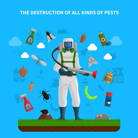 Pest control concept with insects exterminator silhouette flat vector illustration Stock Illustratie