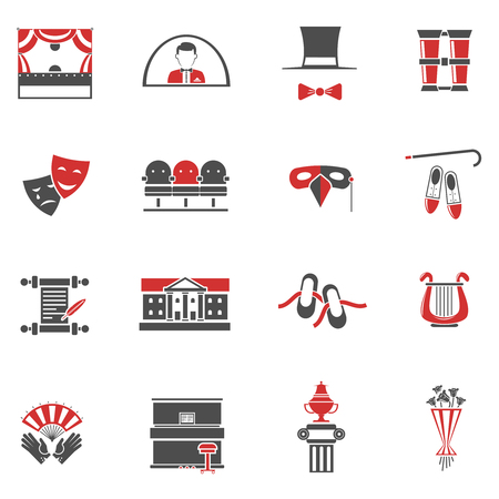 props: Theatre red black icons set with comedy and tragedy symbols flat isolated vector illustration