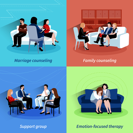 Huwelijkstherapie centrum steun van familie en emoties therapie 4 vlakke pictogrammen vierkante samenstelling abstract geïsoleerde vector illustratie