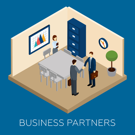 business team: Partnership concept with isometric business people in conference room vector illustration