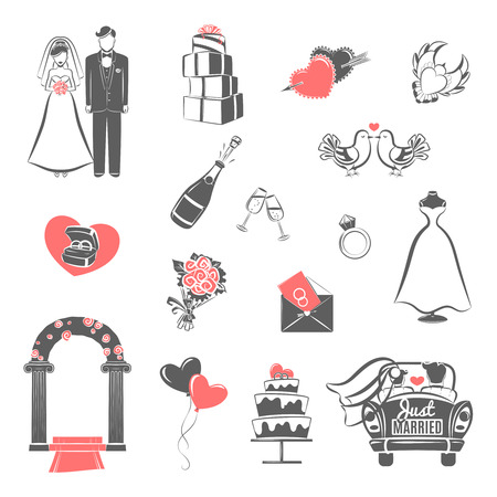 bride and groom illustration: Traditional wedding two colors icons set with engaged couple and bridal party accessories abstract isolated vector illustration