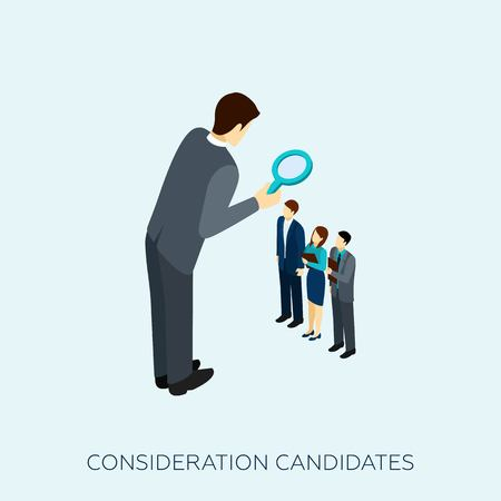 choosing: Choosing a candidate for a job concept with magnifying glass isometric vector illustration Illustration