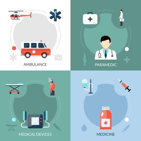 emergencia medica: Iconos de paramédicos de emergencia establecidos con dispositivos médicos de ambulancia y los símbolos de la medicina plana aislado ilustración vectorial Vectores