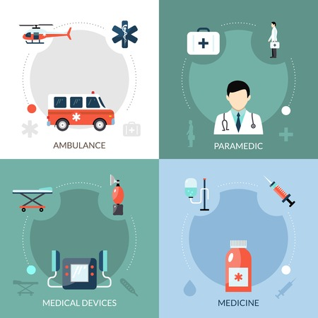 Emergency paramedic icons set with ambulance medical devices and medicine symbols flat isolated vector illustration