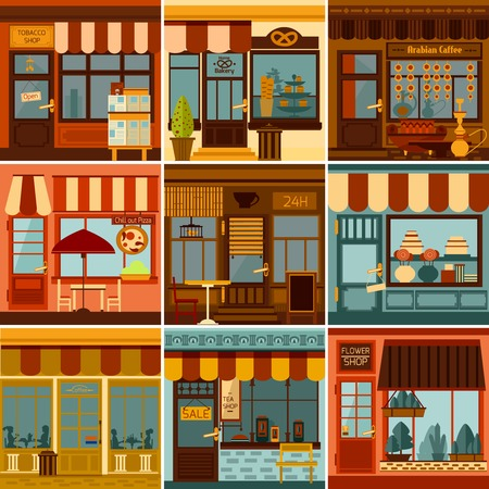 old street: Restaurants shops caffees and market stores facades set isolated vector illustration
