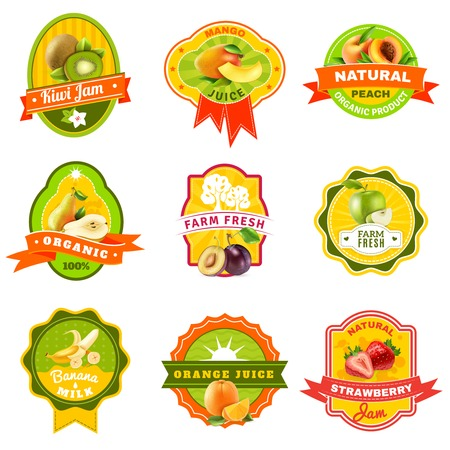 organically: Natural organically grown fruits products emblems labels collection for healthy responsible diet abstract isolated vector illustration