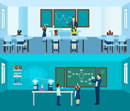 pupils: Teacher horizontal banner set with pupils in classroom isolated vector illustration