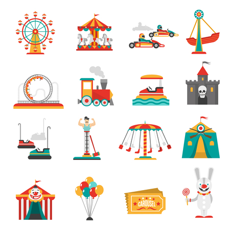 Pretpark vlakke pictogrammen set met familie geïsoleerd attracties vector illustratie Stock Illustratie