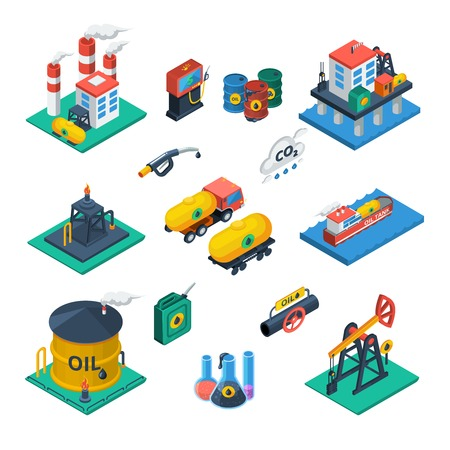 Oil production and distribution industry constructions isometric icons collection with refinery reservoir tank abstract vector isolated illustration Illustration
