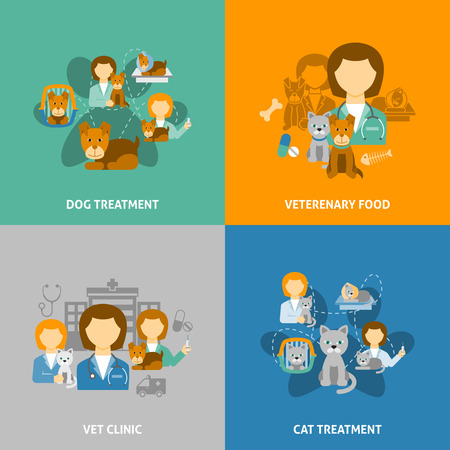 pets: Veterinary clinic for pets with hospital and chemist shop 4 flat icons square composition isolated vector illustration Illustration