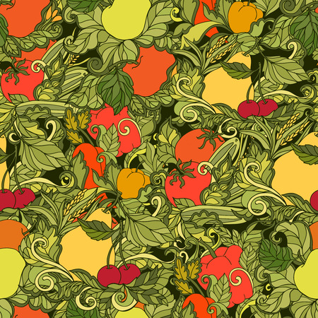 folksy: Ornamental leaves vegetables and fruits country style decorative seamless colored background pattern abstract vector illustration