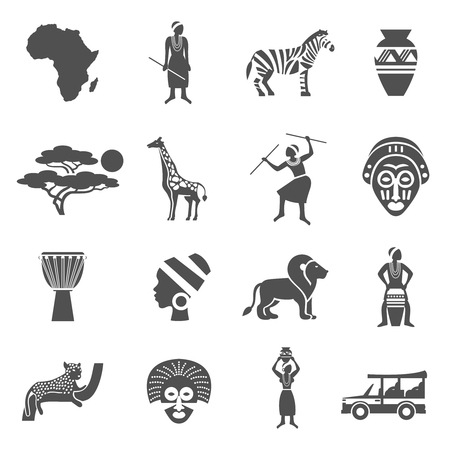 africa continent: Africa black white icons set with african people and animals flat isolated vector illustration Illustration