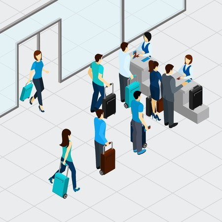 Airport check in line with isometric people with suitcases vector illustration