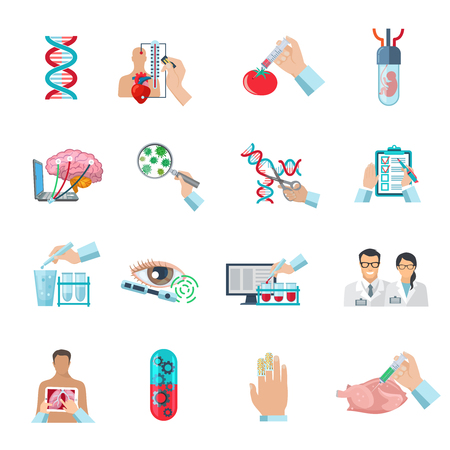 biotech: Flat color scientific icons set of biotechnology  genetic engineering and nanotechnology isolated vector illustration