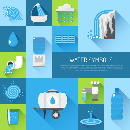 purify: Water flat decorative icons set with glass tube plastic bottle pack isolated vector illustration Illustration