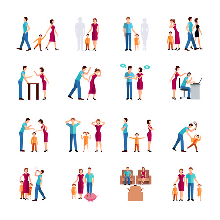parent and child: Flat color icons set depicting family problems of parents and children isolated vector illustration Illustration