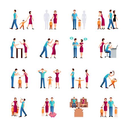 maltrato infantil: Los iconos de color de pantalla plana conjunto que representa a los problemas de los padres y los niños aislado ilustración del vector de la familia