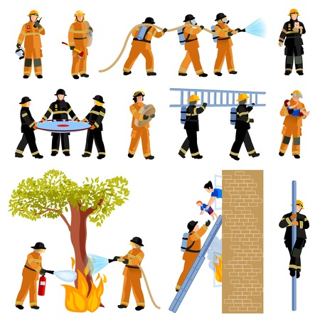 burning house: Decorative flat color icons set of firefighter people extinguishing fire with firehose and saving children vector illustration