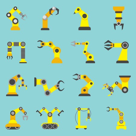 controlled: Remotely controlled robotic arms samples in automation industry yellow flat icons collection abstract isolated vector illustration