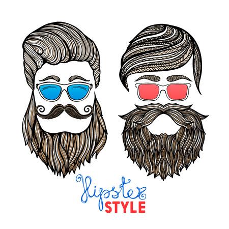 hair style: Two hipster hair style men heads with blue and red glasses doodle pictograms abstract vector isolated illustration Illustration