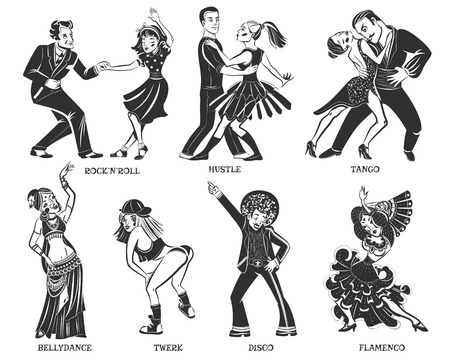 individual: Native  popular dance pair and individual performance black icons set with disco and flamenco isolated vector illustration