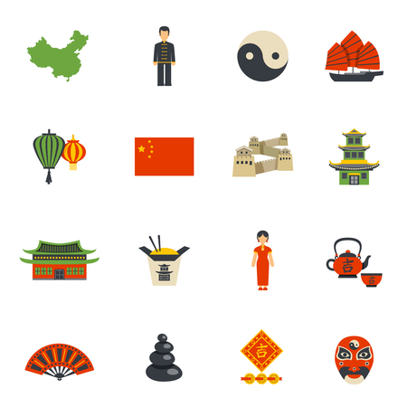 Chinese Clothing Historical Landmarks And National Symbols Flat