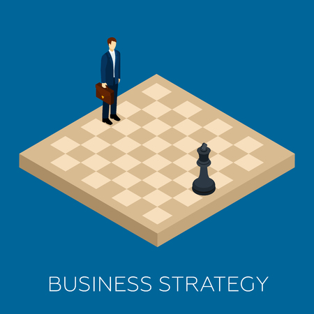 chessboard: Business strategy concept with isometric chessboard and businessman vector illustration