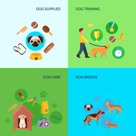 breeds: Dog breeds training and care products supplies 4 flat icons square composition banner abstract isolated vector illustration