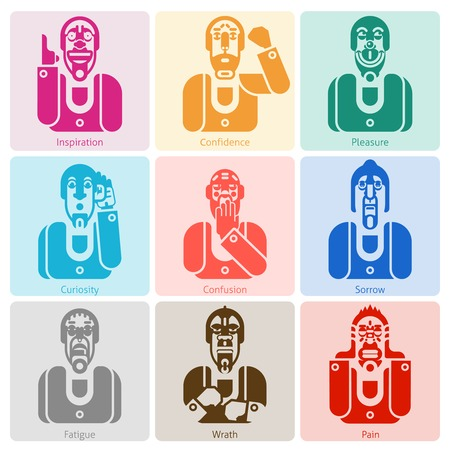 pleasure: Monochrome male faces with inspiration confidence pleasure and other emotions isolated vector illustration