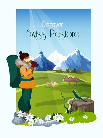 alps: Mountain landscape poster with tourist and cows on background vector illustration