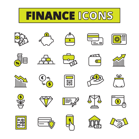 Finance business secure money exchange and saving bank operations symbols outlined pictograms set abstract  vector isolated illustration Ilustração