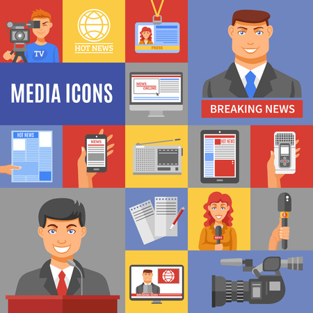 media icons: Journalism icons set with cameras microphones and recording flat isolated vector illustration