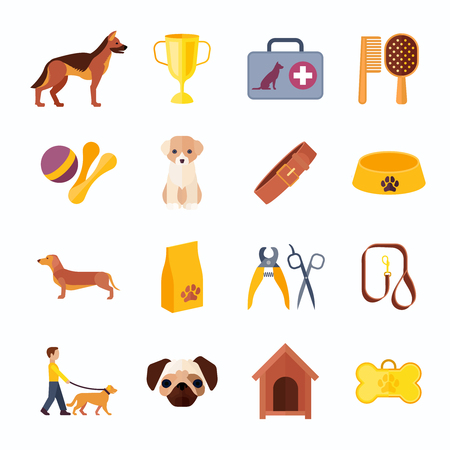 kit design: Pets icons set with shepherd dog and dachshund toys food and accessories flat abstract isolated vector illustration