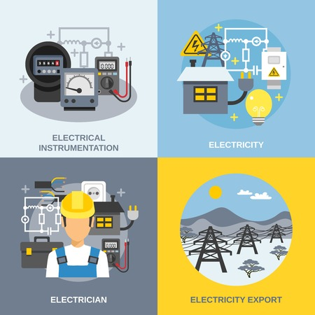 voltage danger icon: Electricity concept icons set with electricity export symbols flat isolated vector illustration
