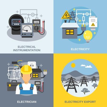 electricidad: Iconos del concepto de la electricidad establecen con símbolos de exportación de electricidad ilustración del vector aislado plana