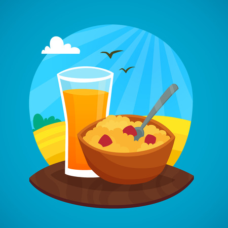 cereal: Breakfast design concept with glass of orange  juice and  bowl of cereal at rural landscape background vector illustration