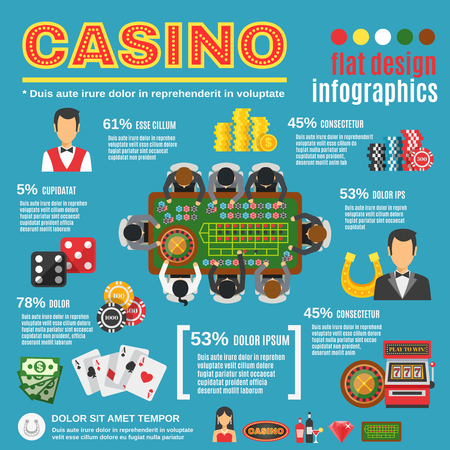casino machine: Casino infographic set with croupier roulette and cards symbols flat vector illustration Illustration